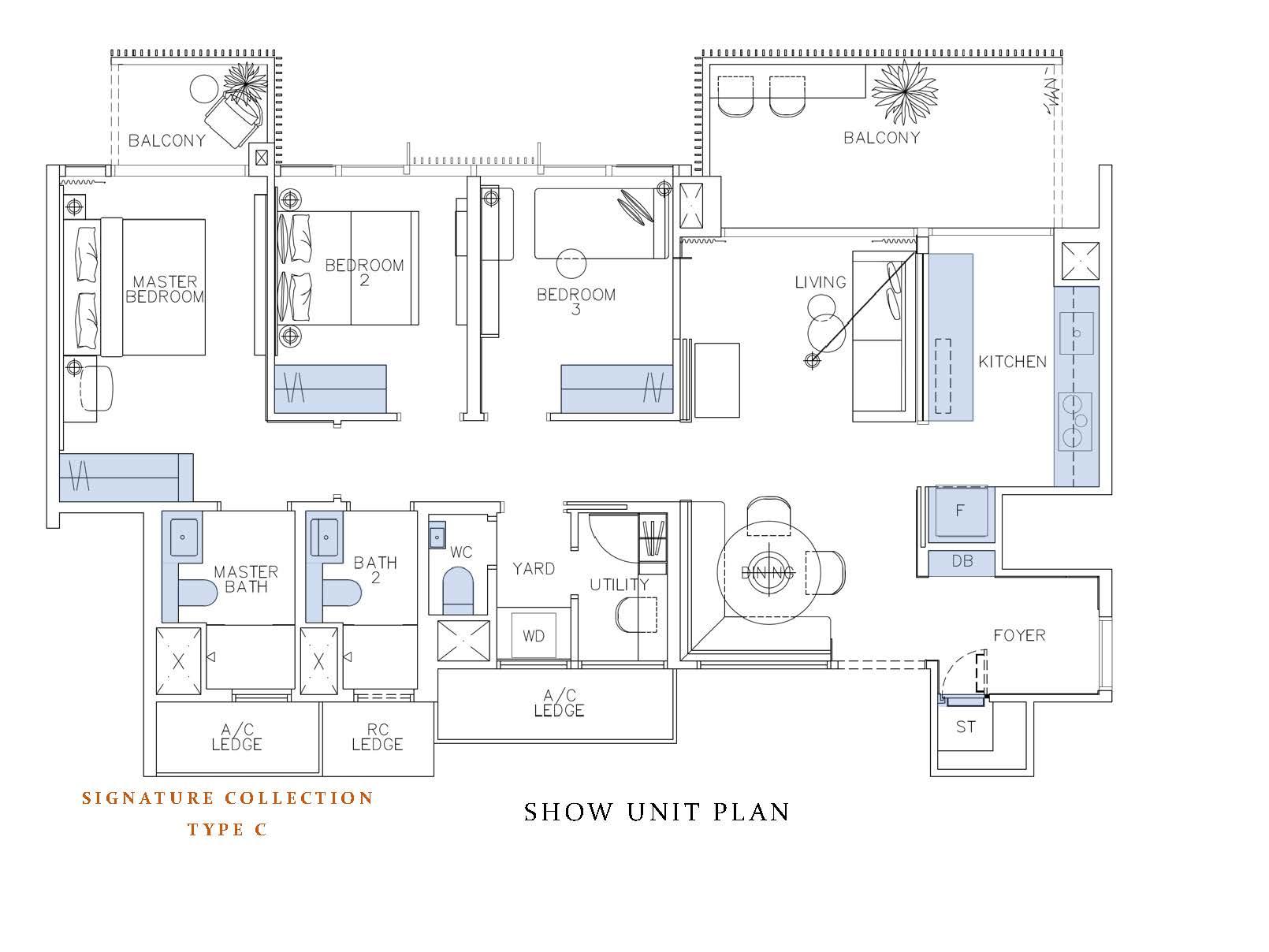 Ki Residences ShowFlat Floor Plan Signature Collection 3 Bedroom